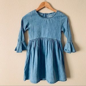 Gap Kids Long Sleeve Chambray Dress Bell Sleeve